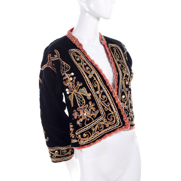 Black velvet vintage jacket w/ embroidery and silver paillettes