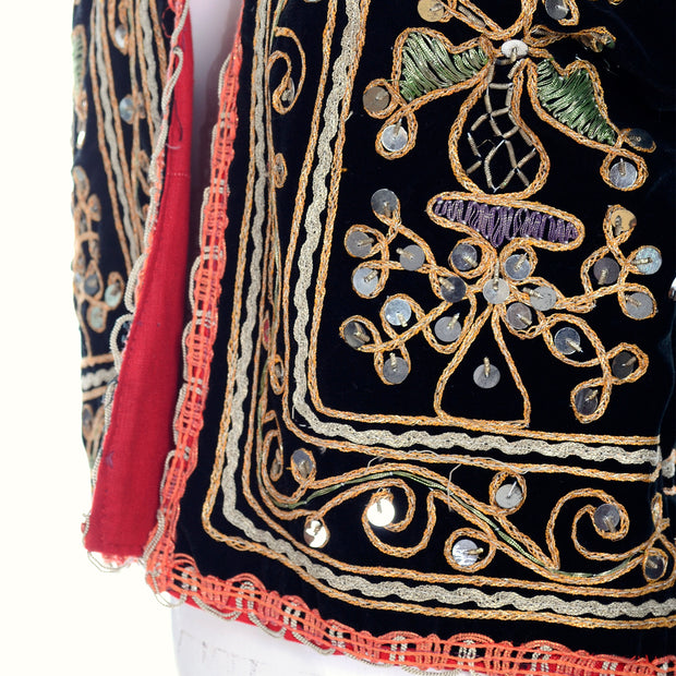 Black velvet cropped open front vintage jacket with ornate designs