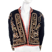 black velvet vintage jacket pink lined w/ embroidery and paillettes