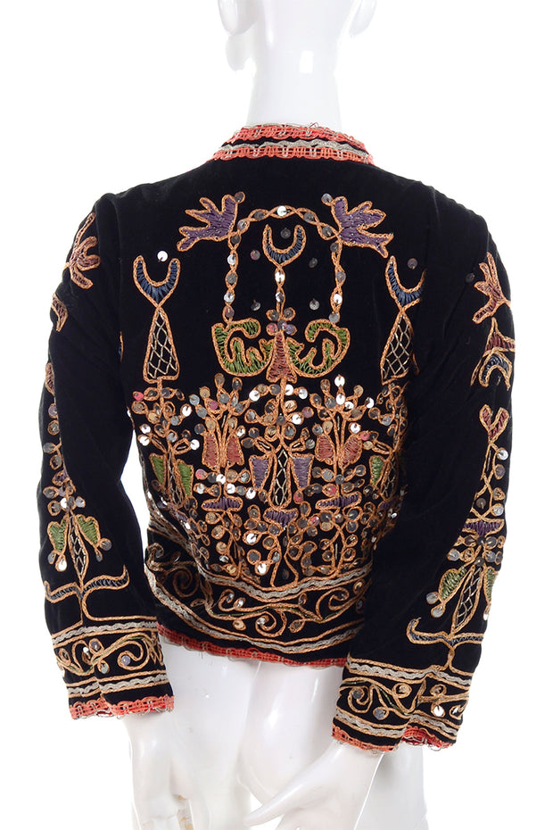 Ethnic black velvet vintage jacket embroidery and silver paillettes