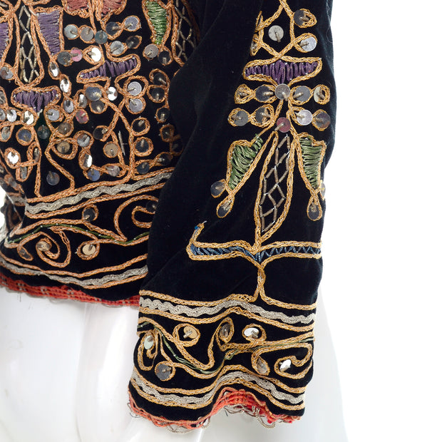 Ethnic black velvet vintage jacket colorful metallic embroidery and silver paillettes