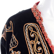 Beautifully embroidered black velvet jacket