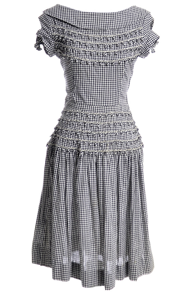Black and white gingham 1960s dress