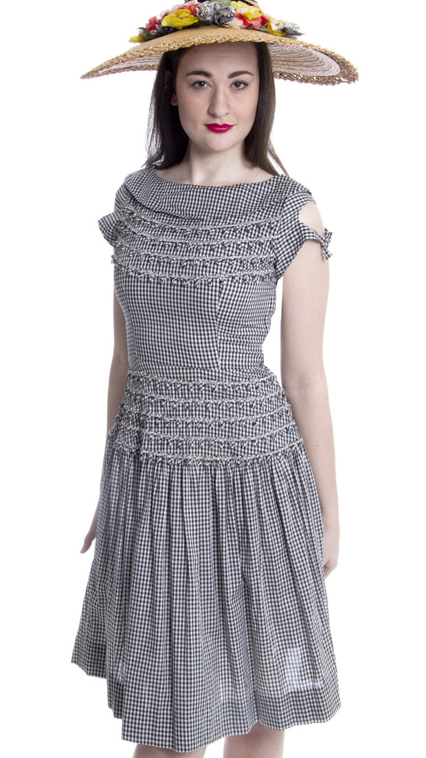 1960's Black and White Checked Gingham Vintage Dress Vicky Vaughn - Dressing Vintage