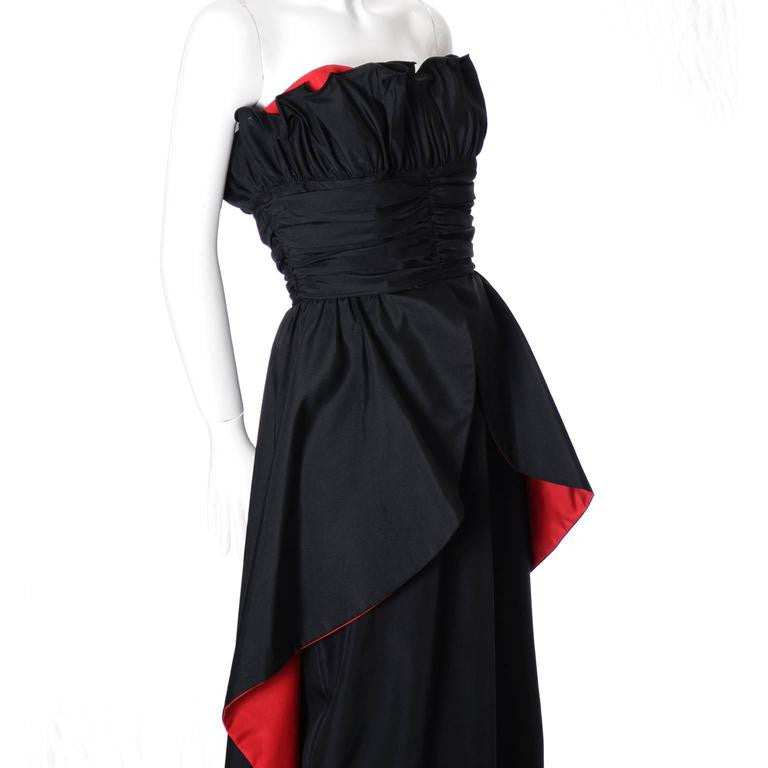 1980's Dramatic Black and Red Strapless Taffeta Vintage Evening Gown