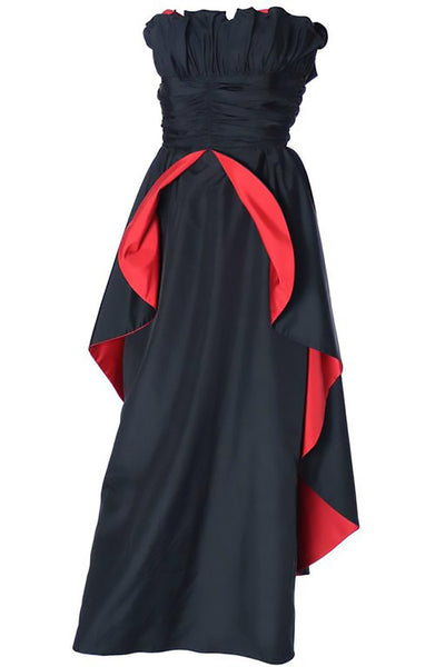 1980's Dramatic Black and Red Strapless Taffeta Vintage Evening Gown - Dressing Vintage