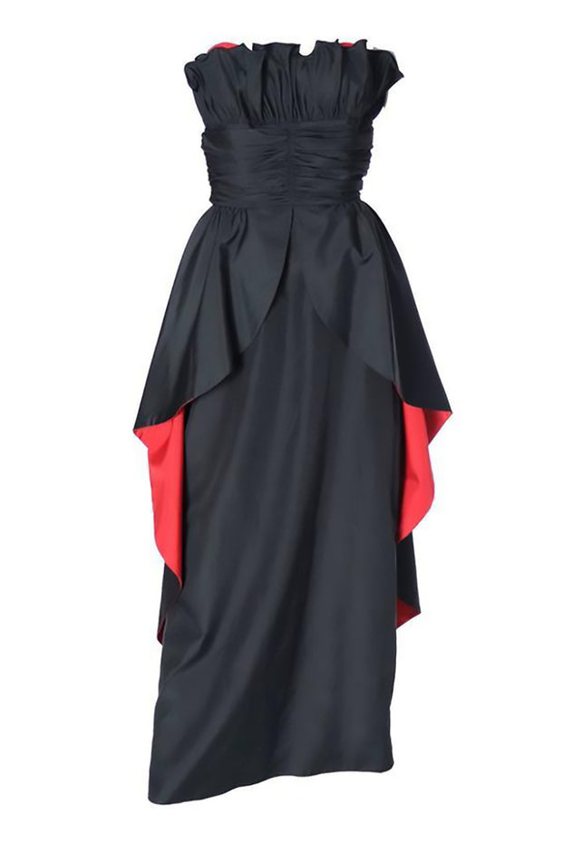 Strapless Black Goth Evening Gown Red Details | Dressing Vintage