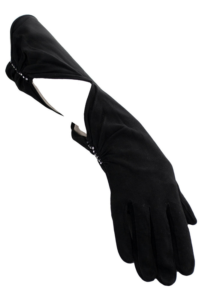 Vintage black cutout gloves with rhinestones at Dressing Vintage