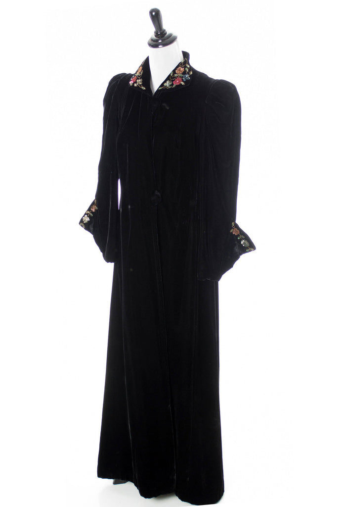 Long velvet vintage black coat opera sequins
