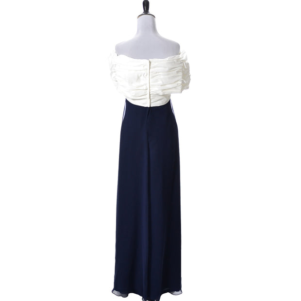As New Vintage Dress by Victor Costa in Blue Chiffon and White Taffeta Evening Gown - Dressing Vintage