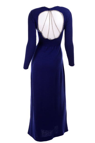 Vintage 1970s Blue Knit Evening Dress W Open Back & Rhinestones