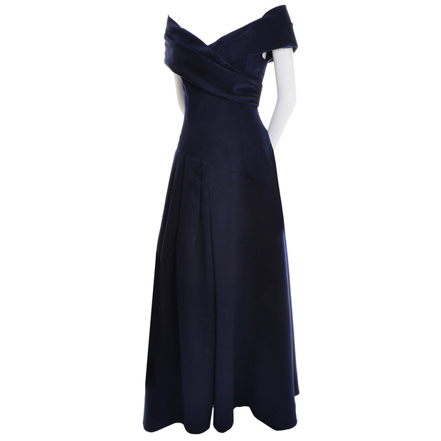 Navy Blue Vintage Victor Costa Dress Evening Gown