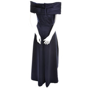Blue Satin Vintage Victor Costa Dress Evening Gown