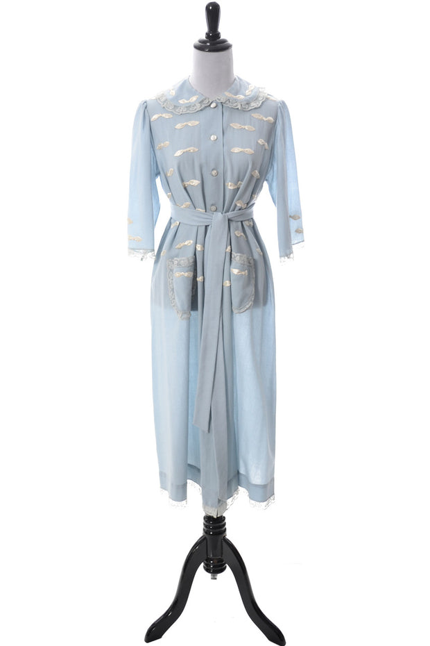 Vintage blue robe from I Magnin 1950s - Dressing Vintage