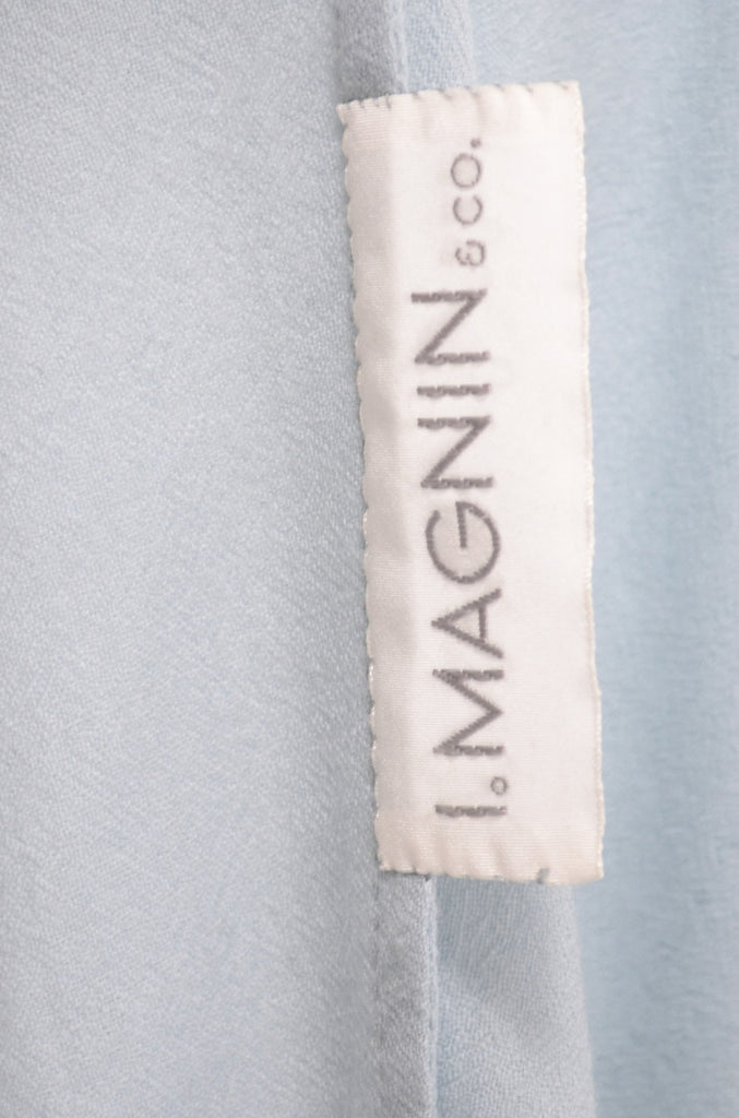 I Magnin & Co vintage blue robe with satin bow appliques