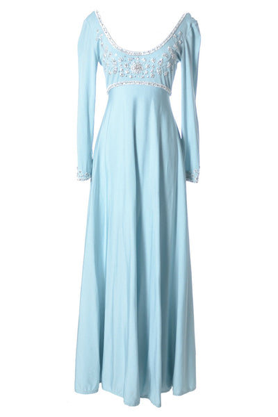 Blue Jersey Beaded Vintage Maxi Dress Victoria Royal Hong Kong - Dressing Vintage