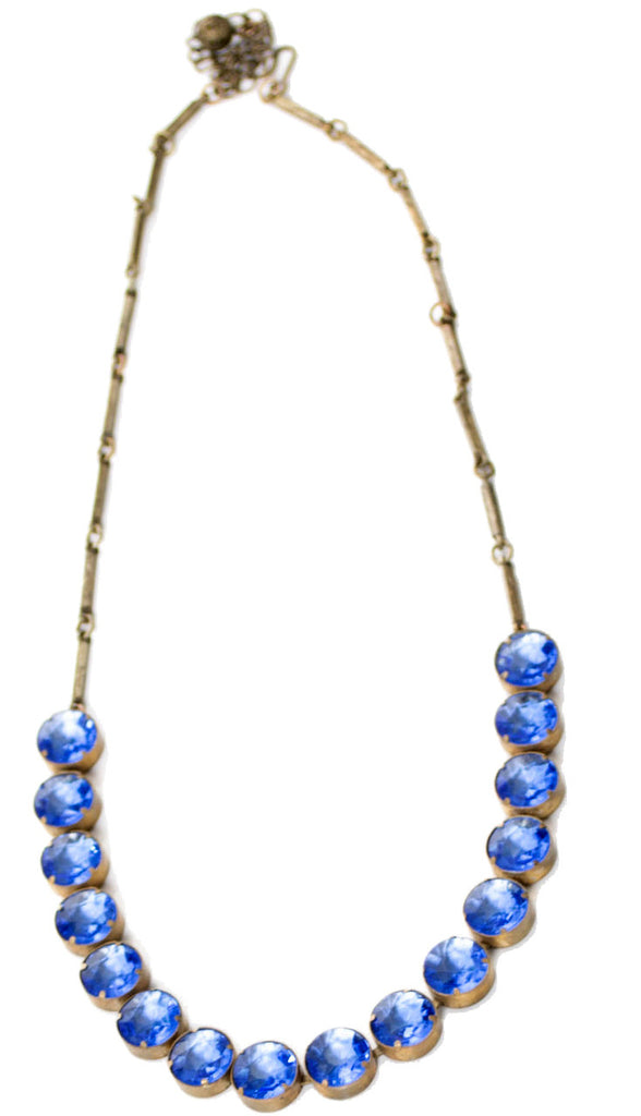 Blue Vintage Art Deco Crystal Open Back Necklace - Dressing Vintage
