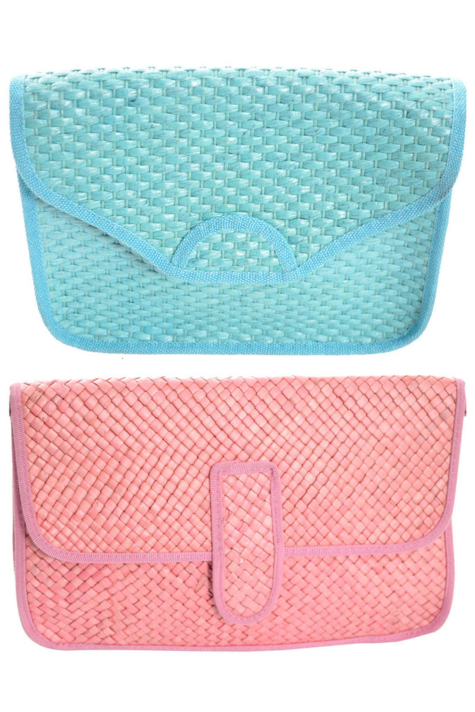 Blue and Pink woven straw vintage handbags at Dressing Vintage