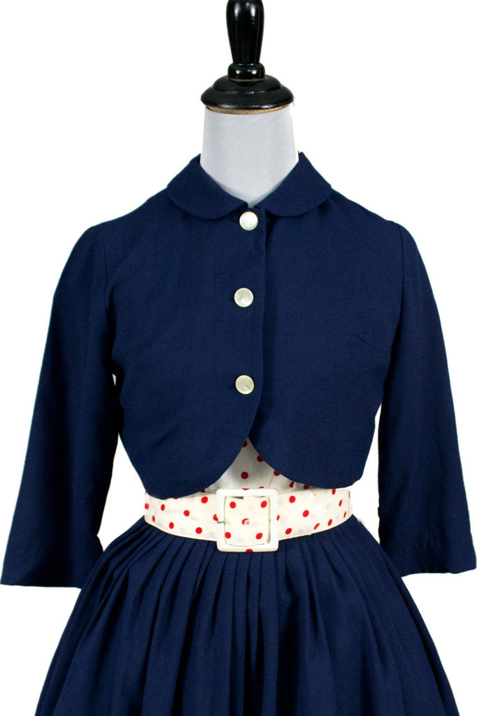 1950s I Magnin Vintage Girl's 2 Pc Dress Bolero Jacket - Dressing Vintage