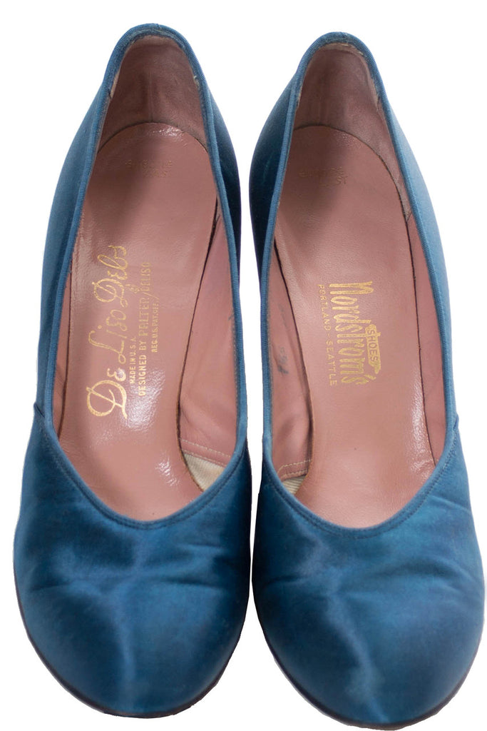De Liso Debs 1940s Blue Satin Shoes SOLD - Dressing Vintage