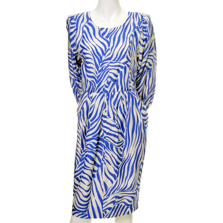 Blue and white zebra print dress by Yves Saint Laurent in the 1980s