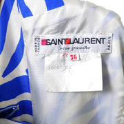 1980s YSL label from a blue zebra print dress