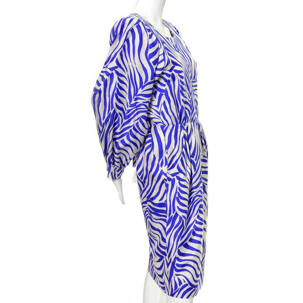 80's YSL zebra print dress with batwing sleeves