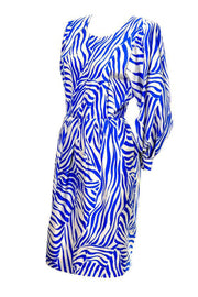 1980s Yves Saint Laurent Rive Gauche Blue Zebra Print Dress Size 4