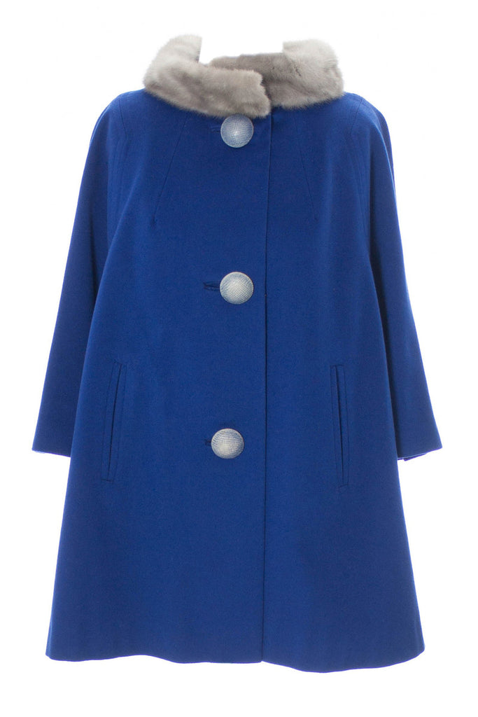 Vintage Blue swing coat with giant buttons and fur collar