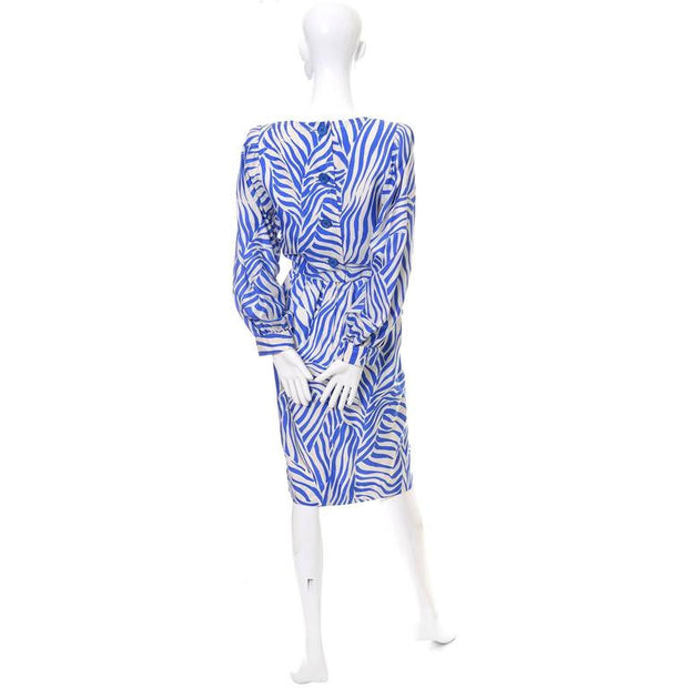 Back of a YSL vintage dress from the 1980s with blue zebra print