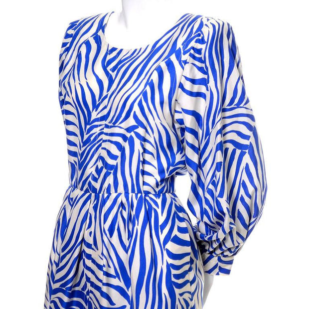 1980s silk YSL dress featuring a wild zebra print