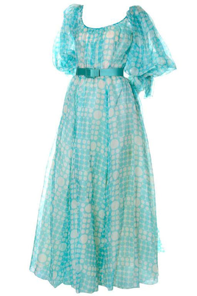 1970s Bob Mackie Vintage Long Dress in Blue Organza w/ Polka Dots & Puff Sleeves