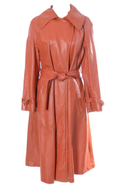 Vintage long orange leather Bonnie Cashin design Sills coat - Dressing Vintage