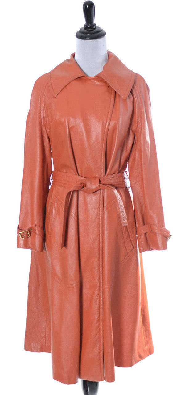 Orange Leather Bonnie Cashin Sills coat - Dressing Vintage
