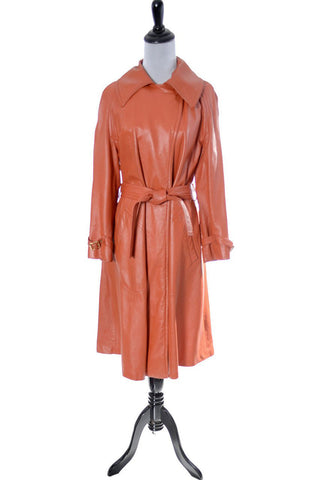 1970's Bonnie Cashin orange leather long coat by Dressing Vintage