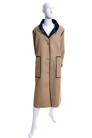 Bonnie Cashin Vintage Raincoat Tan Navy Toggle Closures 12/14