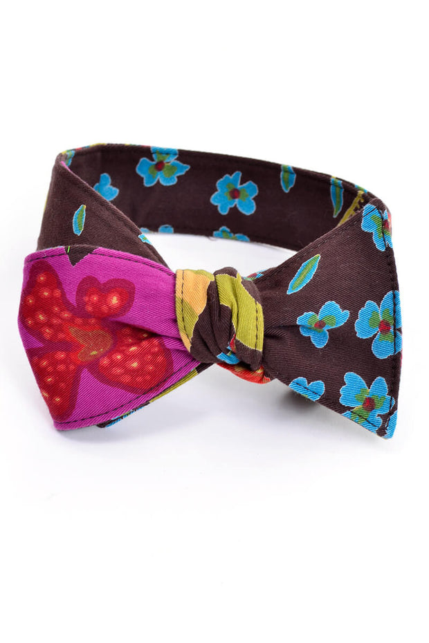 Vintage Floral Brown Bow Tie - Dressing Vintage