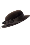 Frank Olive vintage brown felted hat with bow from Dressing Vintage