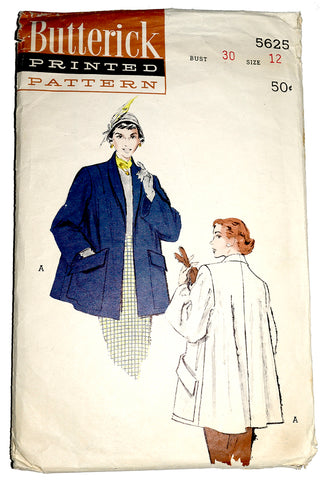 Butterick 5625 Vintage Swing Coat Pattern 1950s