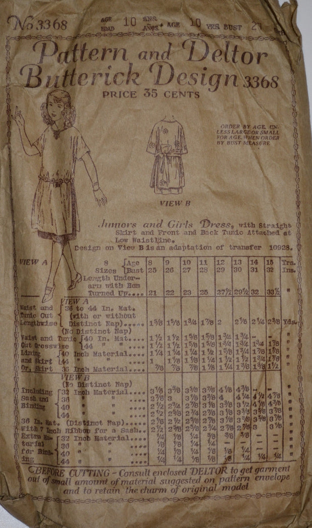 1920's RARE Girl's Vintage Dress Pattern Butterick 3368 - Dressing Vintage