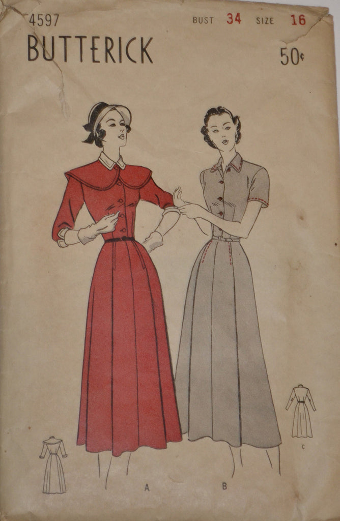 1940s vintage Butterick 4597 dress pattern