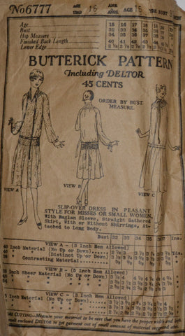 "1920's Rare Vintage Sewing Pattern Butterick 6777 Flapper Dress 38"" Bust - Dressing Vintage"