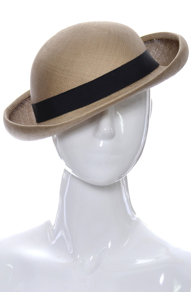 Yves Saint Laurent straw hat with ribbon Bretton style Vintage 1970s - Dressing Vintage