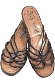 Callisto California Vintage Shoes Black Strappy Leather Sandals Size 7 - Dressing Vintage