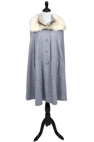 1960s Vintage Fur Trimmed Gray Cape - Dressing Vintage
