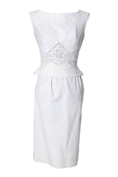 1960's Vintage Carlye White Pique Peplum & Lace 2 Piece Dress - Dressing Vintage