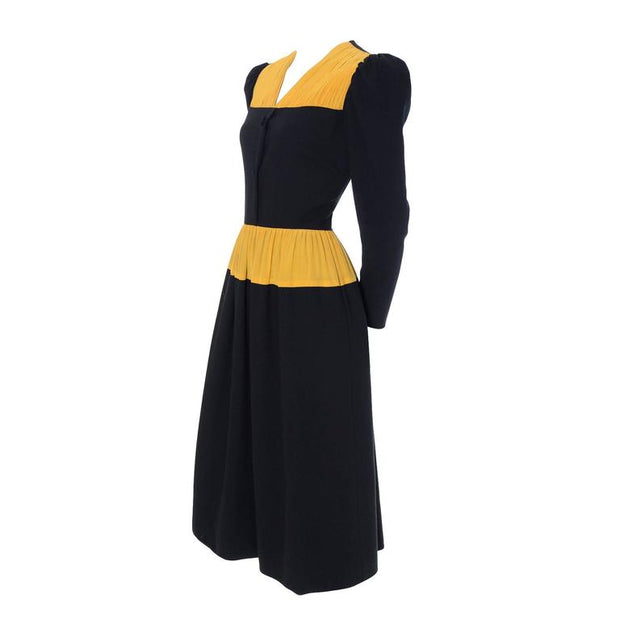 Carolina Herrera Pleated Wool Crepe Vintage Dress w/ Pleated Marigold Silk