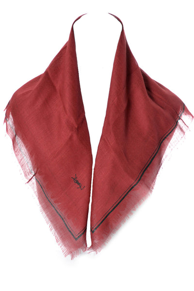 2 Vintage Yves Saint Laurent Cashmere Silk Scarves Red and Brown - Dressing Vintage