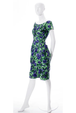 Ceil Chapman vintage dress green floral silk