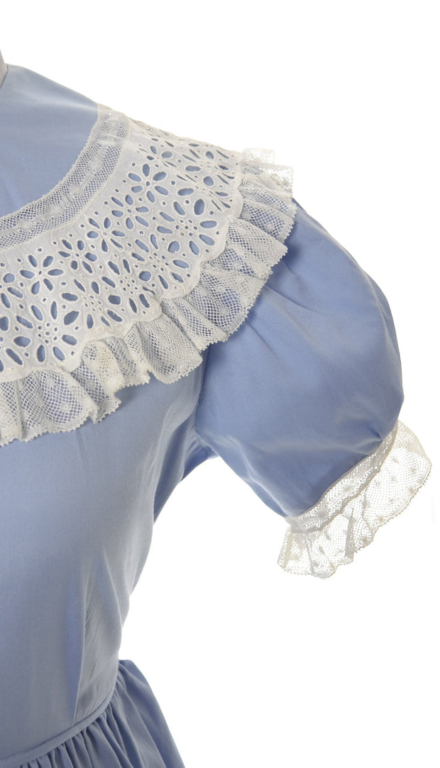 Celeste Vintage Little Girl's Pretty Blue Dress with Lace Collar - Dressing Vintage